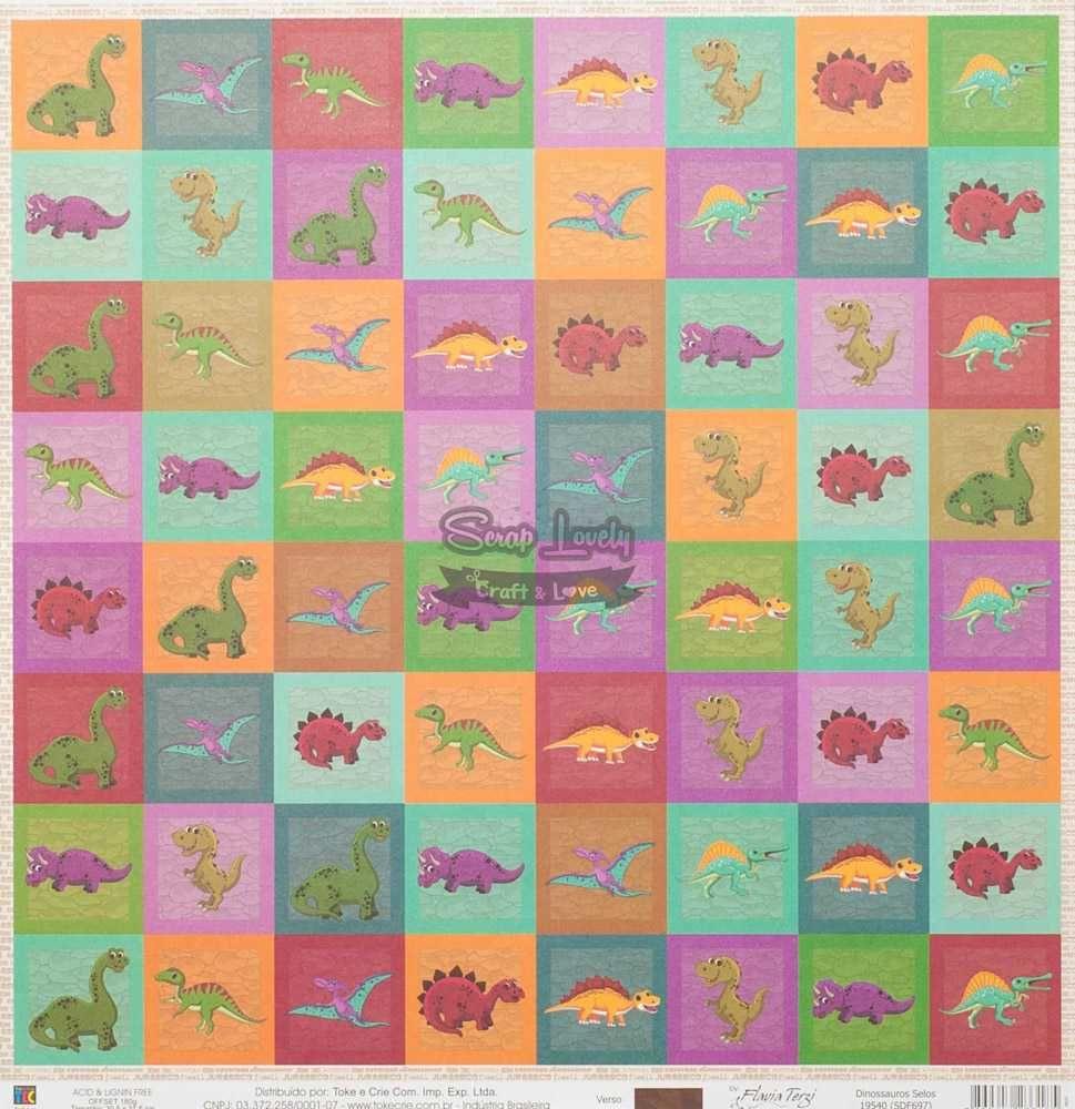 Papel Scrapbook Dinossauros Selos - Toke e Crie