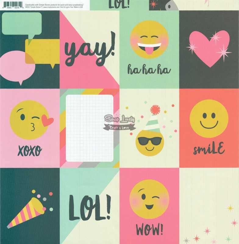 Papel Scrapbook Emoji Love 3x4 Journaling Card Elements - Simple Stories