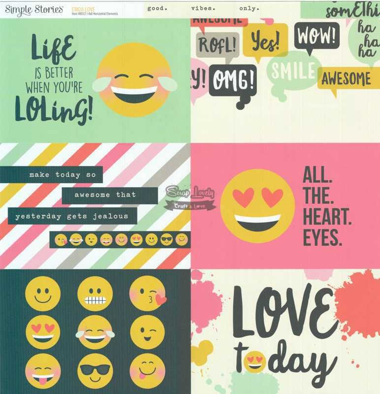 Papel Scrapbook Emoji Love 4x6 Horizontal Elements - Simple Stories