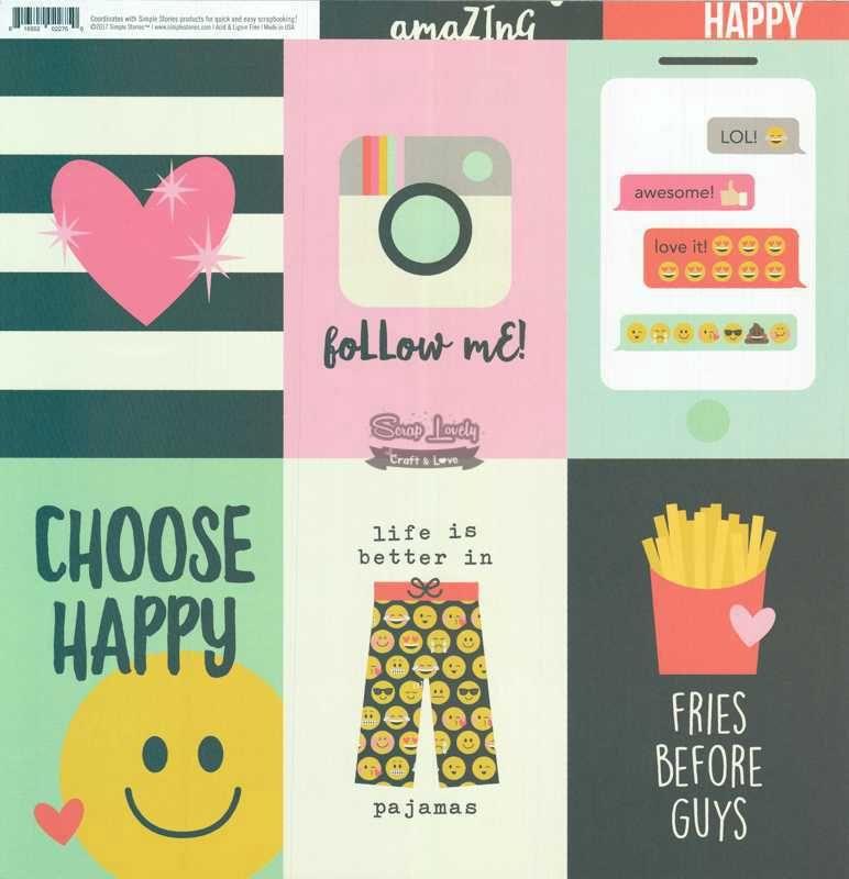 Papel Scrapbook Emoji Love 4x6 Vertical Elements - Simple Stories