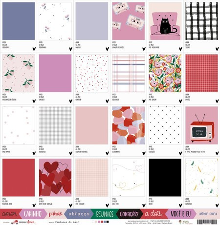 Papel Scrapbook Espalhando Amor Pantones do Amor - Juju Scrapbook
