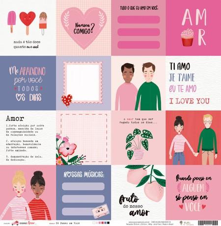 Papel Scrapbook Espalhando Amor Só Penso em Você - Juju Scrapbook