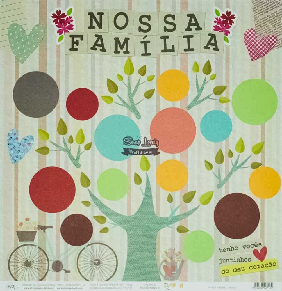 Papel Scrapbook Família Árvore - OK Scrapbook