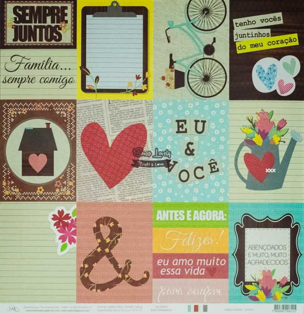 Papel Scrapbook Família Cards - OK Scrapbook
