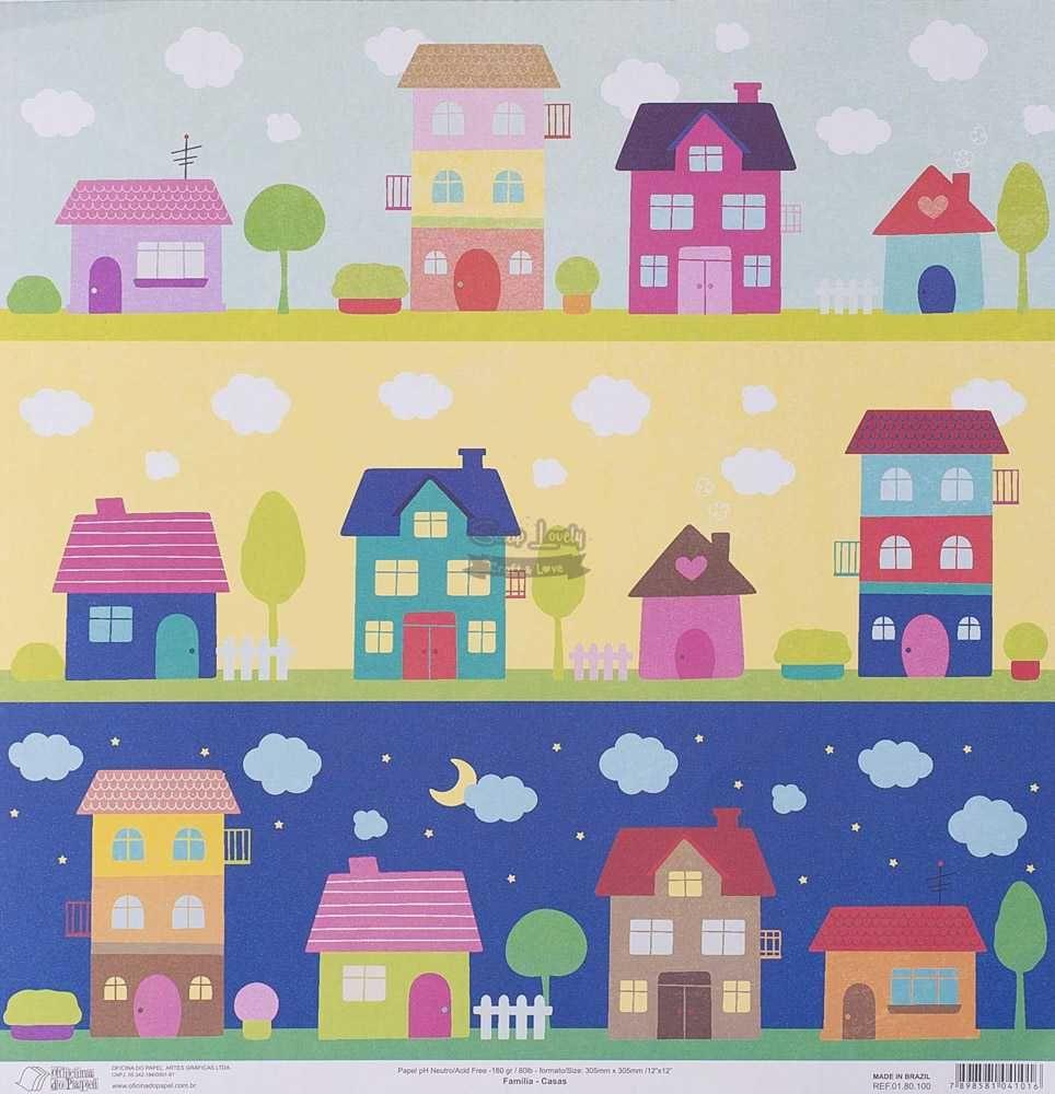 Papel Scrapbook Família Casas - Oficina do Papel