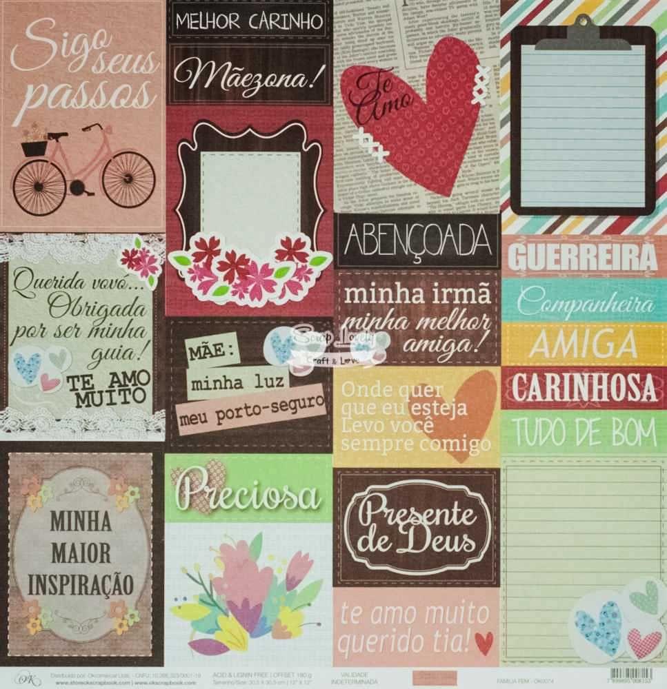 Papel Scrapbook Família Feminino - OK Scrapbook