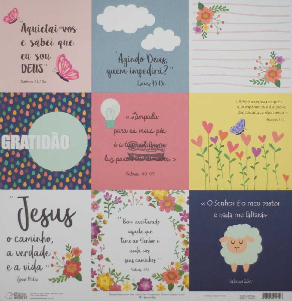 Papel Scrapbook Fé Versículos - Oficina do Papel