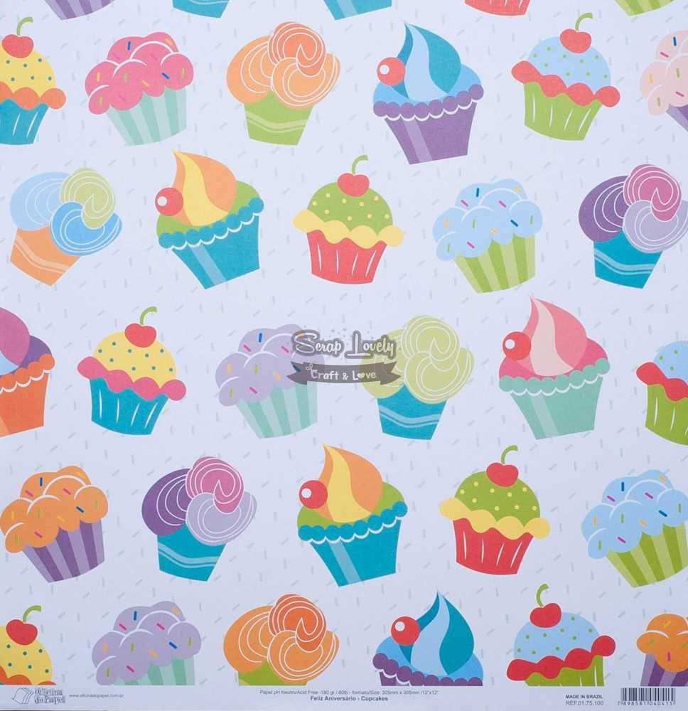 Papel Scrapbook Feliz Aniversário Cupcakes - Oficina do Papel
