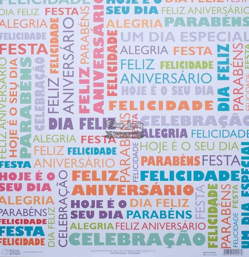 Papel Scrapbook Feliz Aniversário Felicitações - Oficina do Papel