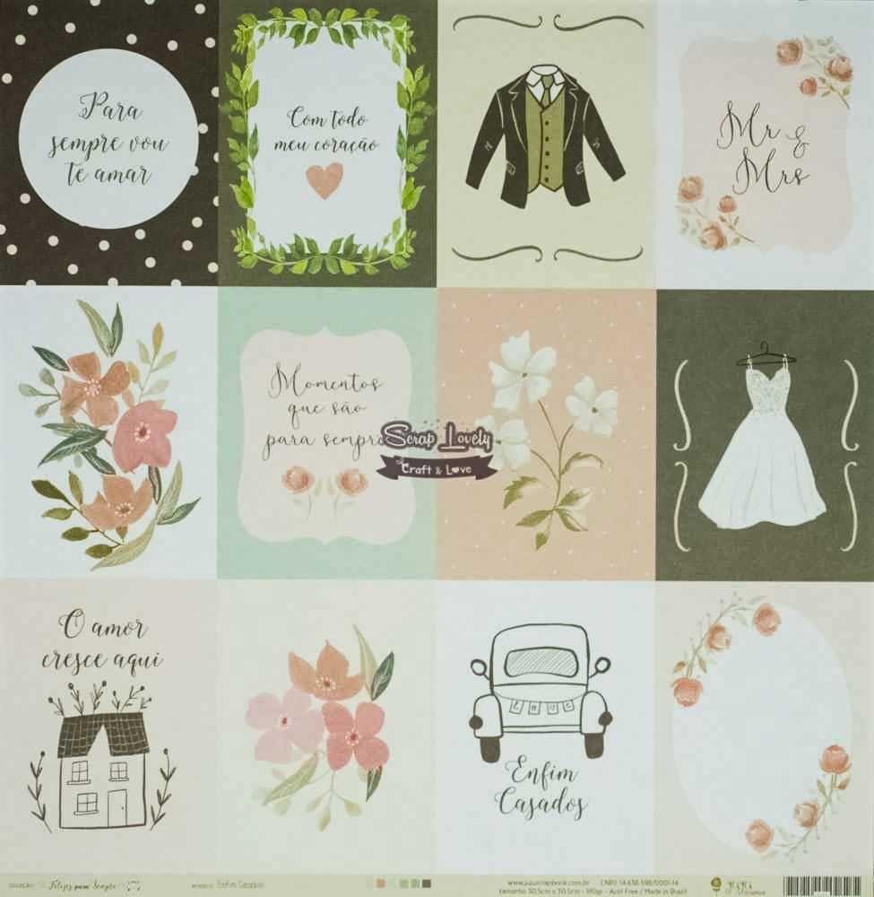 Papel Scrapbook Felizes Para Sempre Enfim Casados! - JuJu Scrapbook