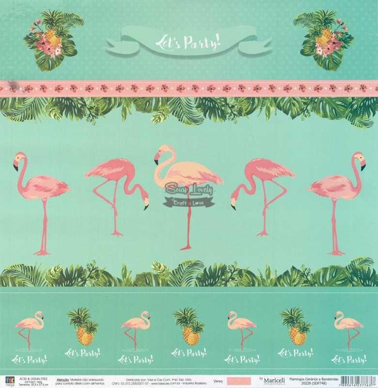 Papel Scrapbook Flamingos Cenários e Bandeirolas - Toke e Crie