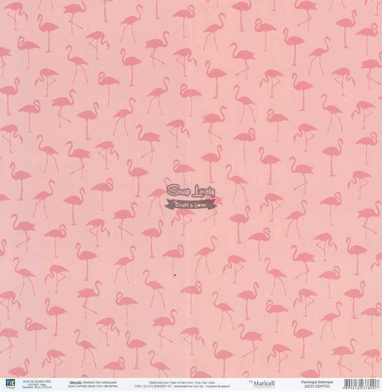 Papel Scrapbook Flamingos Estampas - Toke e Crie