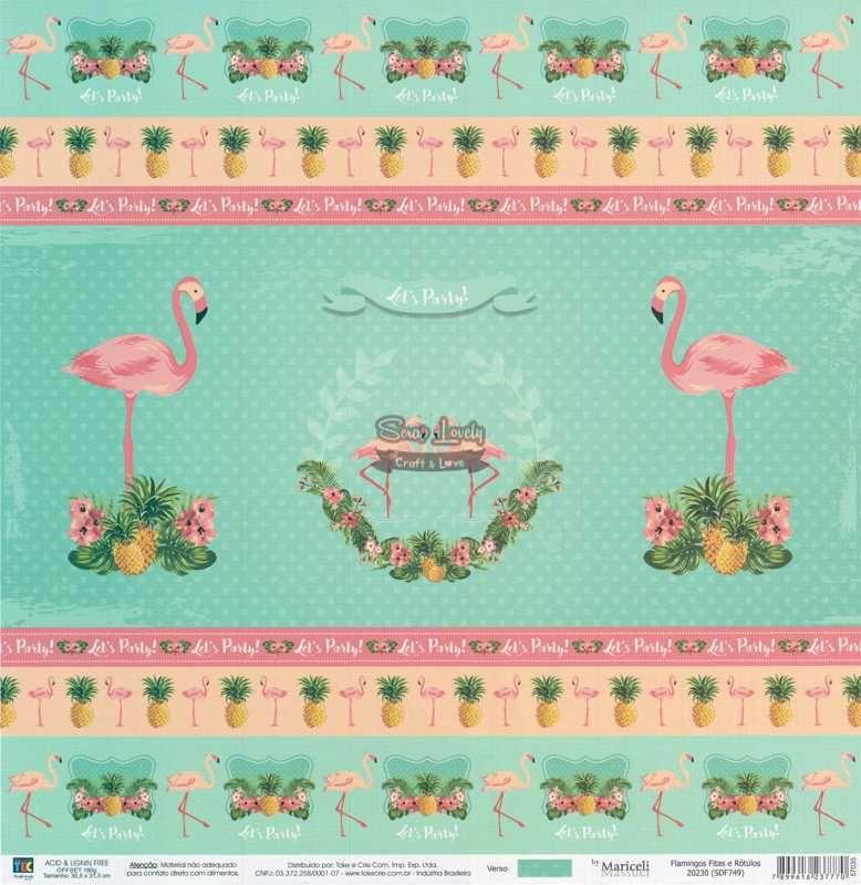 Papel Scrapbook Flamingos Fitas e Rótulos - Toke e Crie