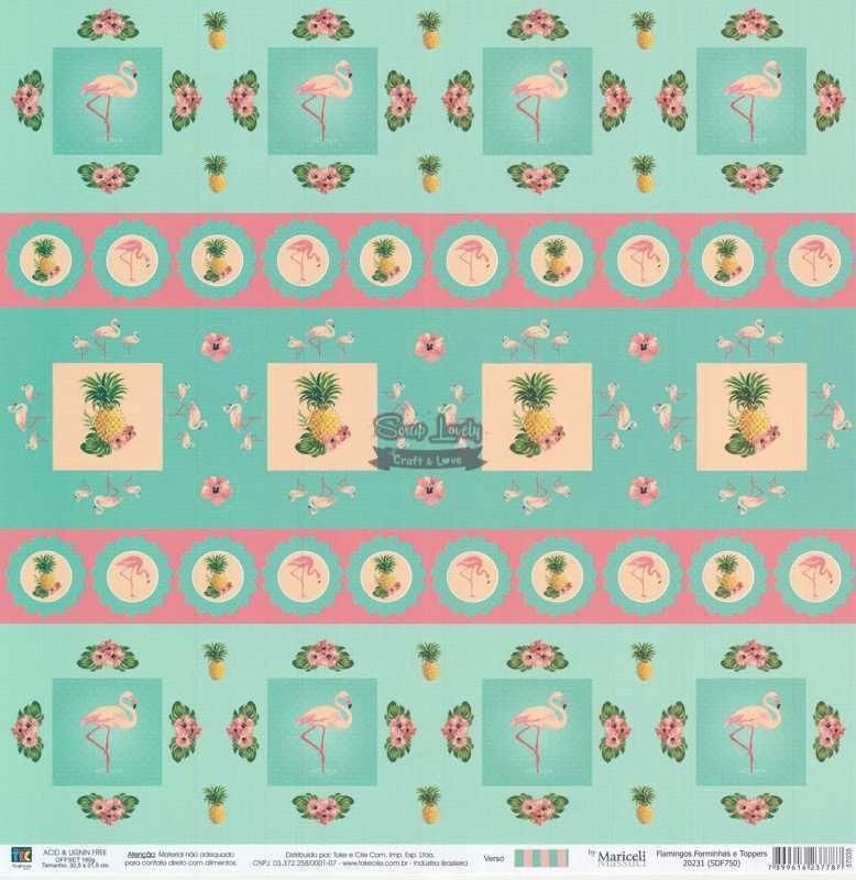 Papel Scrapbook Flamingos Forminhas e Toppers - Toke e Crie