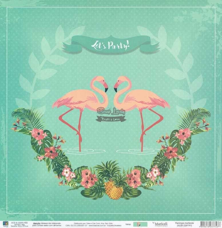 Papel Scrapbook Flamingos Guirlanda - Toke e Crie