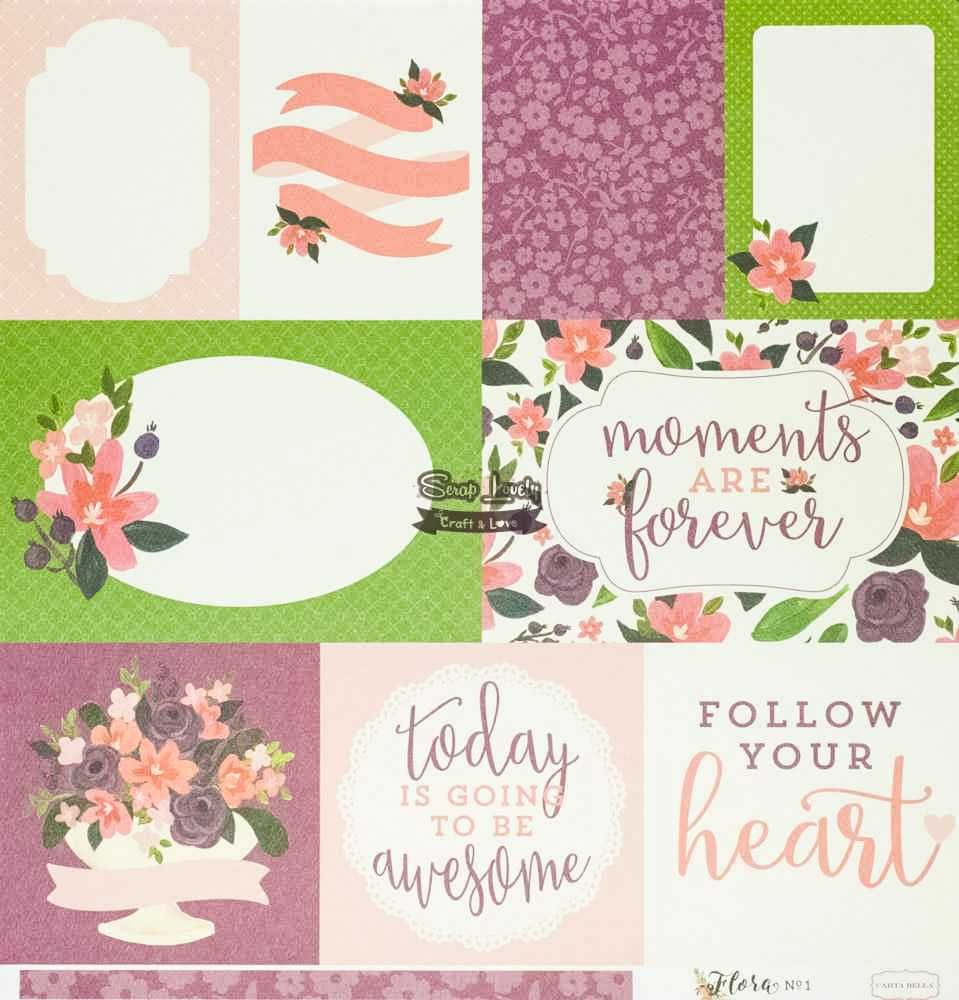 Papel Scrapbook Flora nº 1 Lily Meadow Journaling Cards - Carta Bella