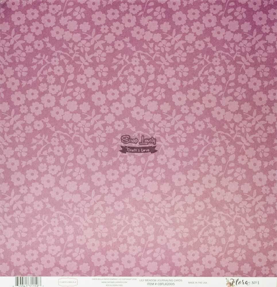 Papel Scrapbook Flora nº 1 Lily Meadow Journaling Cards - Carta Bella