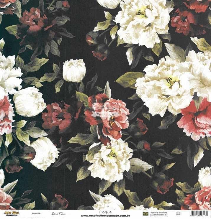 Papel Scrapbook Floral 4 - Arte Fácil