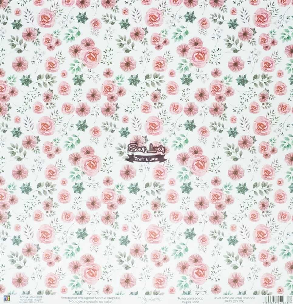 Papel Scrapbook Floral Botão de Rosas Delicado - Toke e Crie