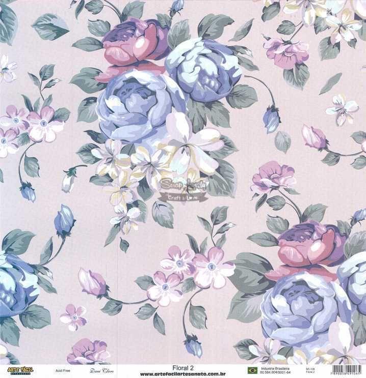 Papel Scrapbook Floral Floral 2 - Arte Fácil