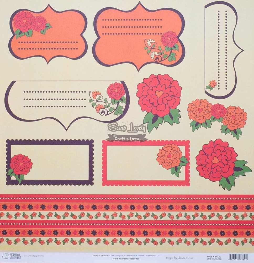 Papel Scrapbook Floral Vermelho Recortes - Oficina do Papel