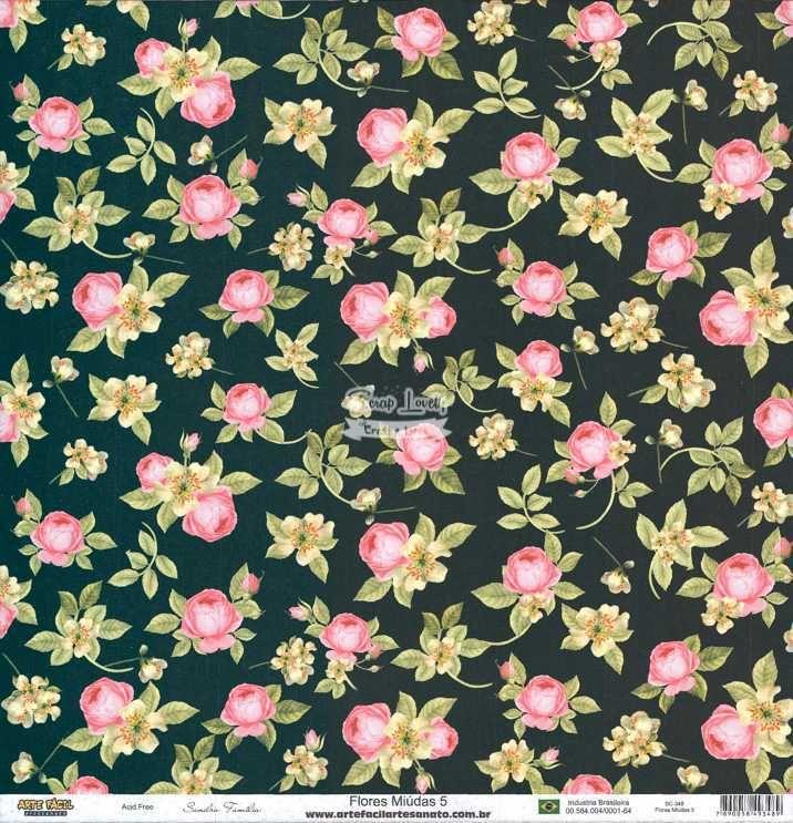 Papel Scrapbook Flores Miudas 5 - Arte Fácil