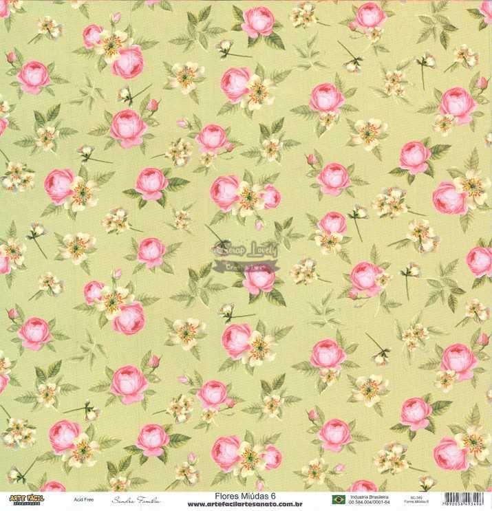 Papel Scrapbook Flores Miudas 6 - Arte Fácil
