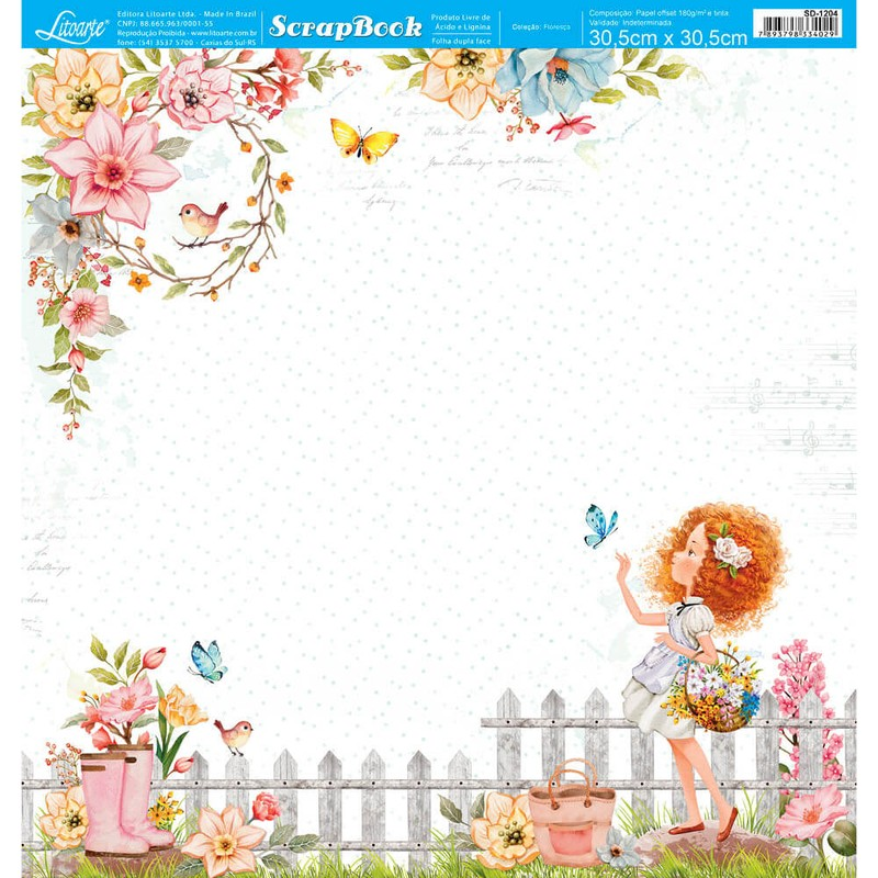 Papel Scrapbook Floresça SD-1204 - Litoarte