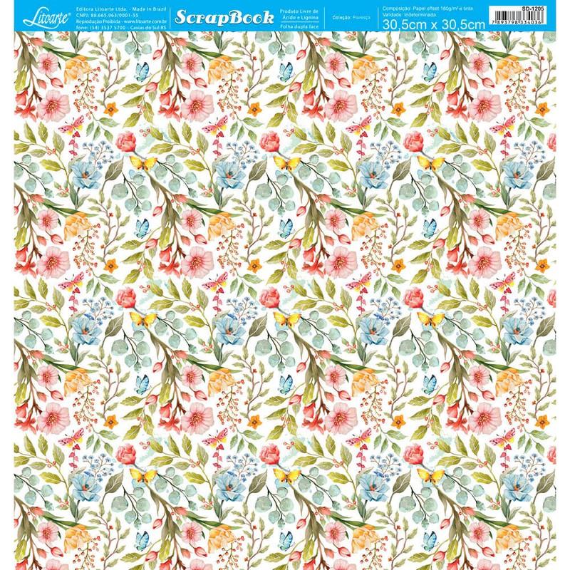 Papel Scrapbook Floresça SD-1205 - Litoarte