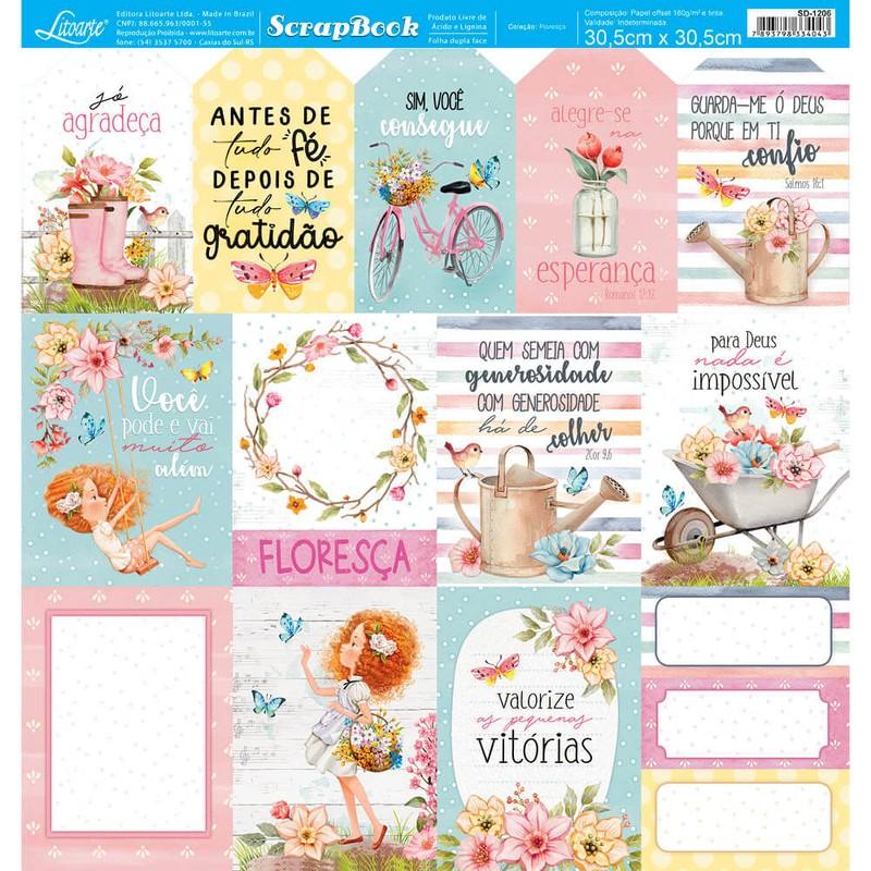 Papel Scrapbook Floresça SD-1206 - Litoarte
