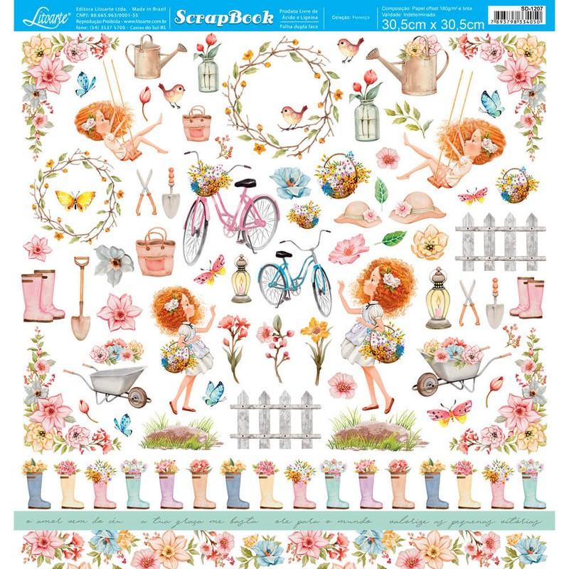 Papel Scrapbook Floresça SD-1207 - Litoarte