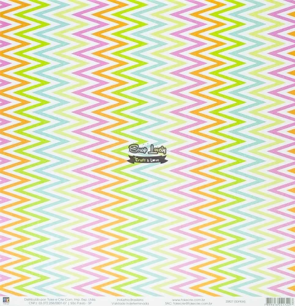 Papel Scrapbook Folhagem Colorida - Toke e Crie