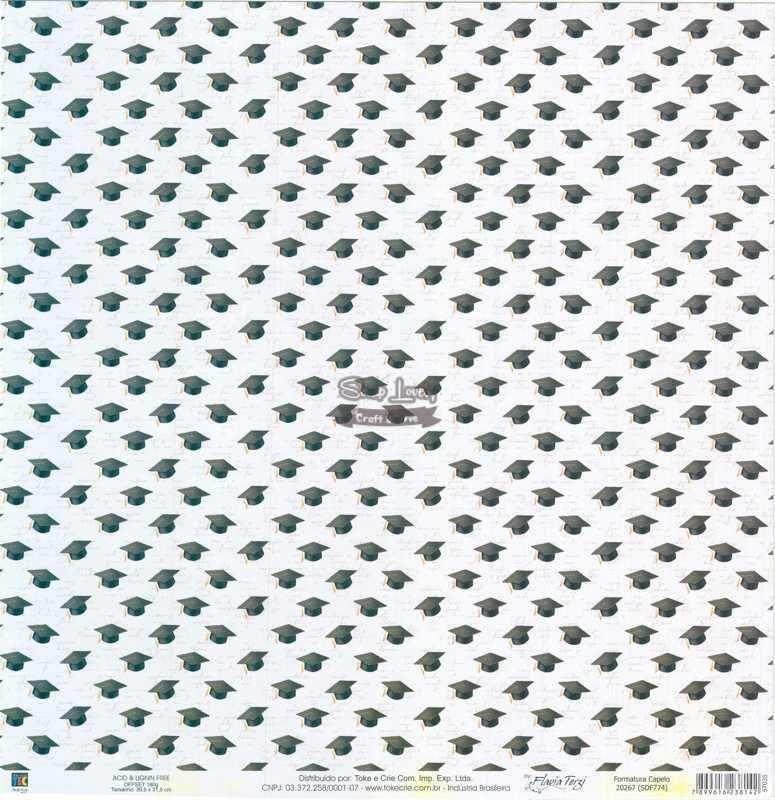 Papel Scrapbook Formatura Capelo - Toke e Crie