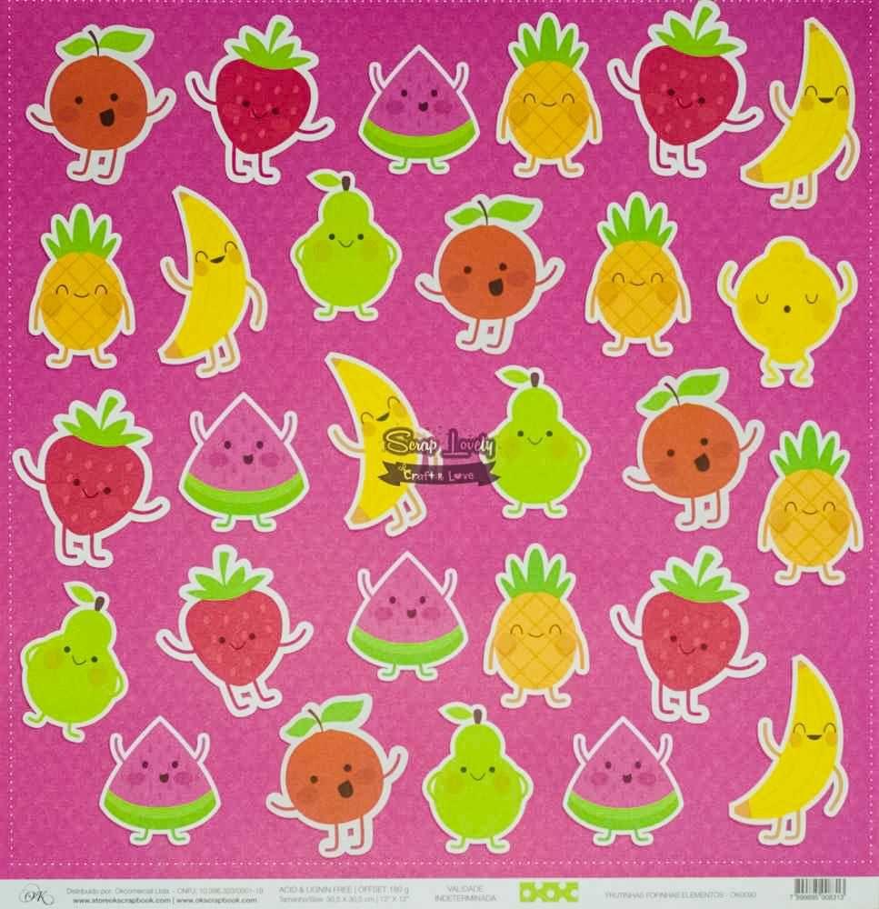 Papel Scrapbook Frutinhas Fofinhas Elementos - OK Scrapbook
