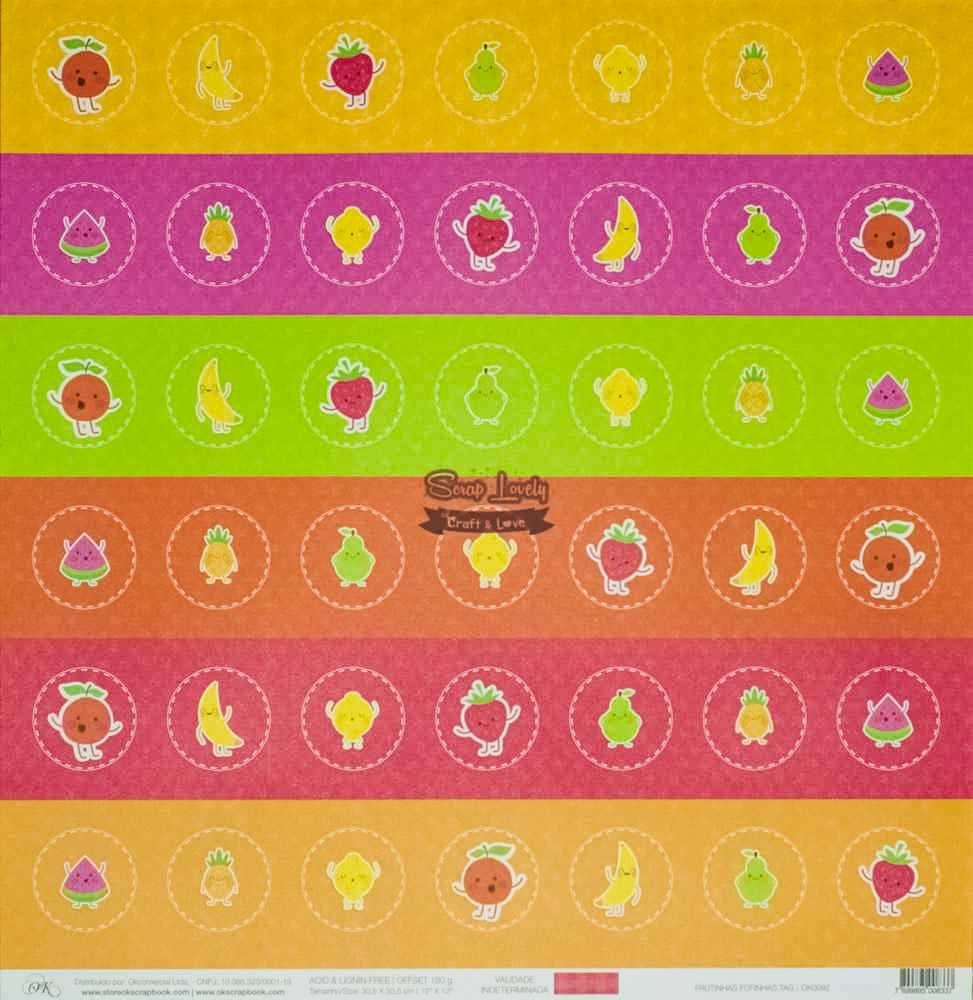 Papel Scrapbook Frutinhas Fofinhas Tags - OK Scrapbook