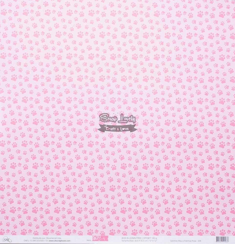 Papel Scrapbook Gatinhos Miau e Patinhas Rosa - OK Scrapbook