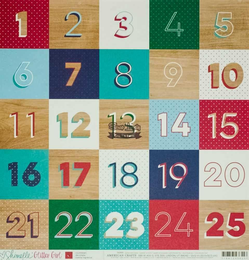 Papel Scrapbook Glitter Girl Countdown - American Crafts