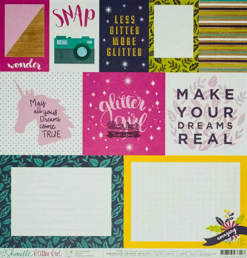 Papel Scrapbook Glitter Girl Mix and Match - American Crafts