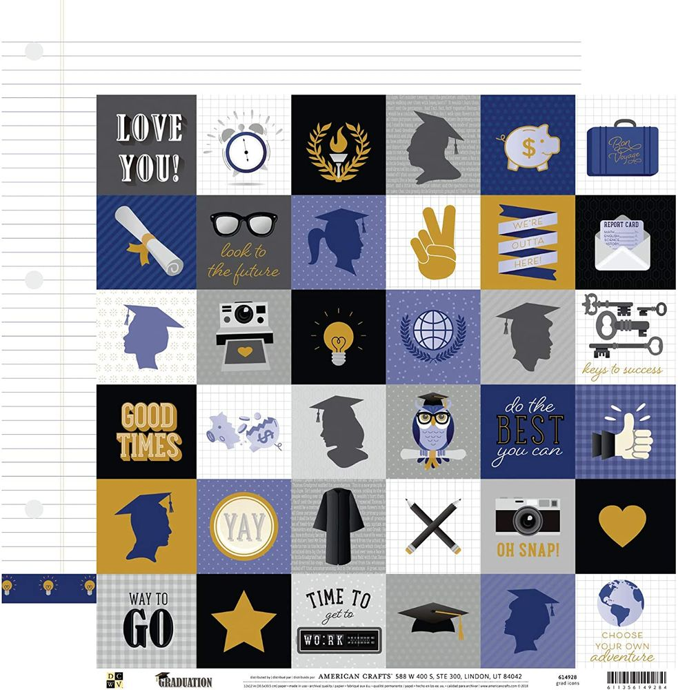 Papel Scrapbook Graduation Grad Icons - DCWV