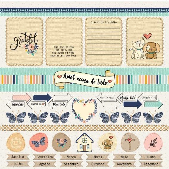 Papel Scrapbook Gratidão e Deus Amor é Tudo PP186 - Scrap Goodies