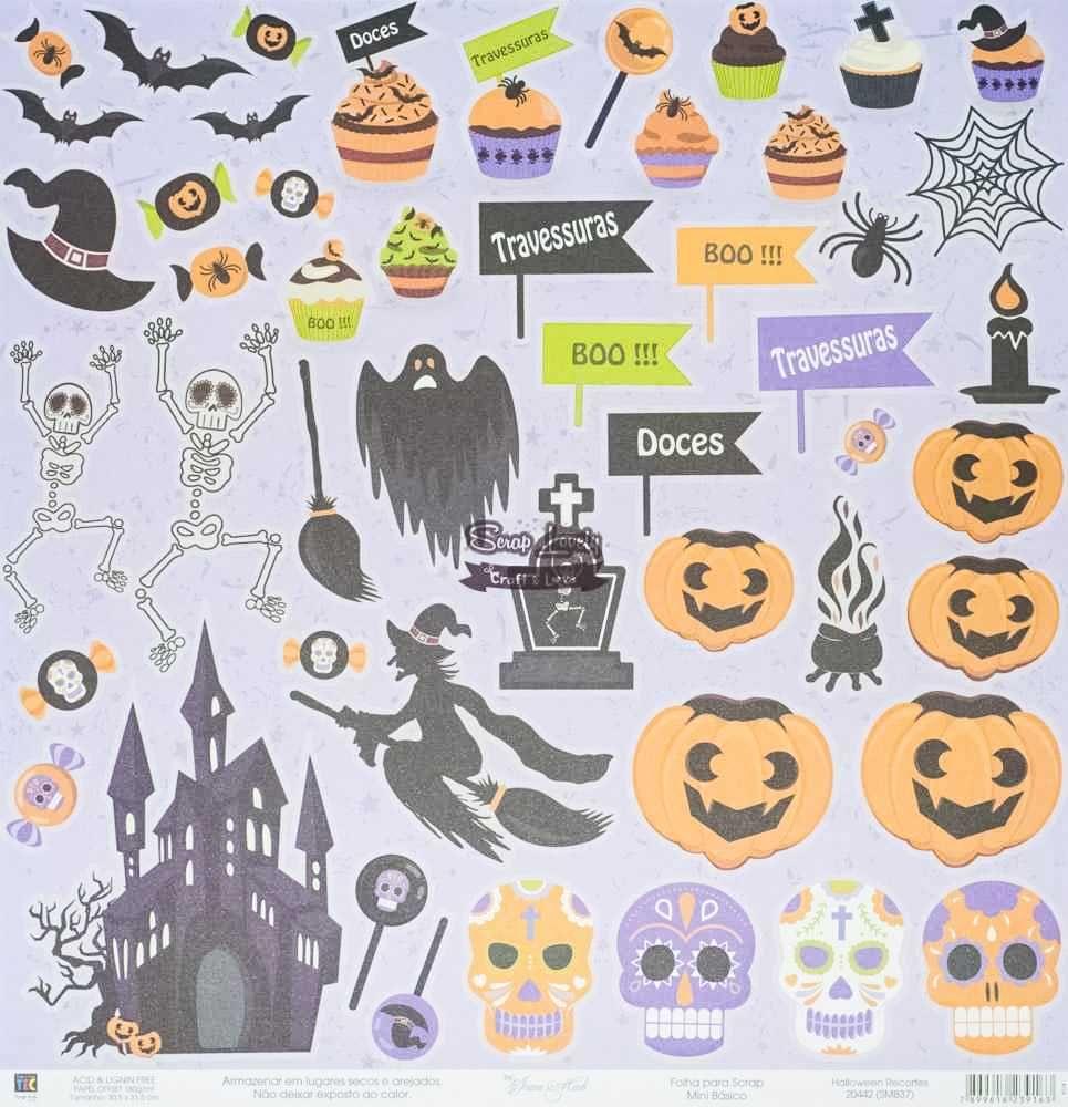 Papel Scrapbook Halloween Recortes - Toke e Crie