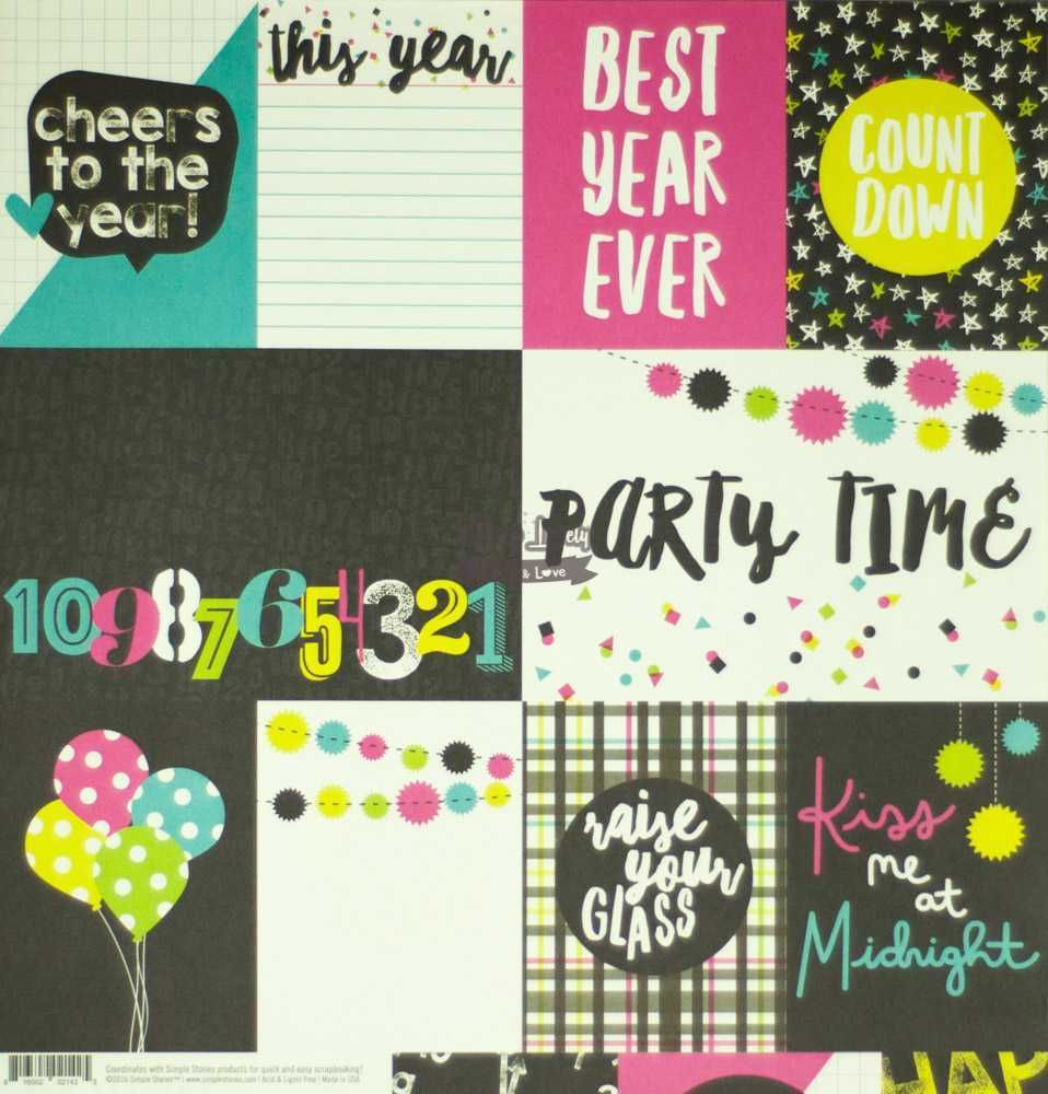 Papel Scrapbook Happy New Year 3x4 & 4x6 Elements - Simple Stories