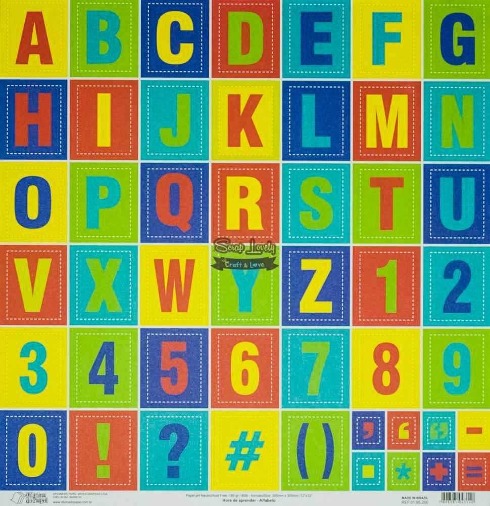Papel Scrapbook Hora de Aprender Alfabeto - Oficina do Papel