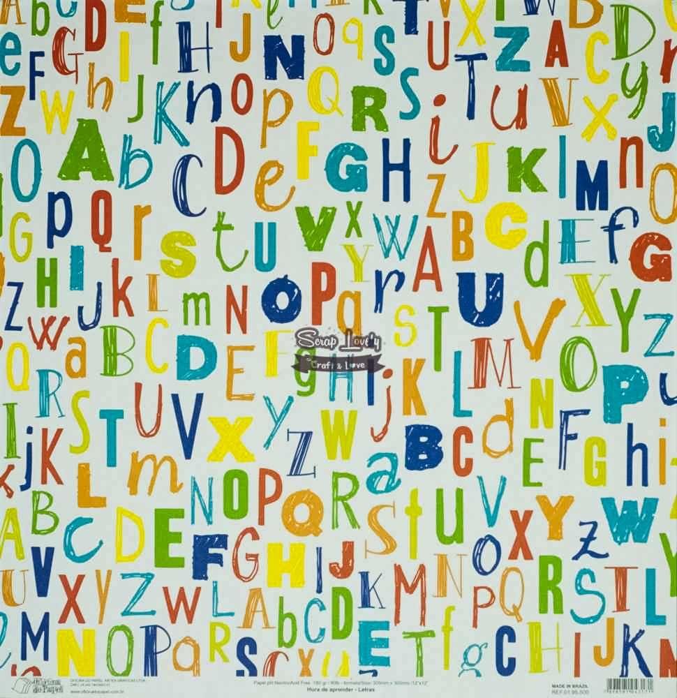 Papel Scrapbook Hora de Aprender Letras - Oficina do Papel