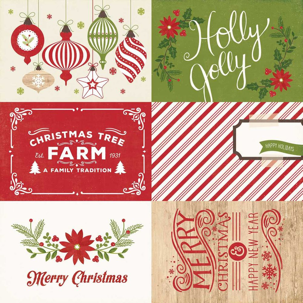 Papel Scrapbook I Love Christmas 4x6 Journaling Cards - Echo Park