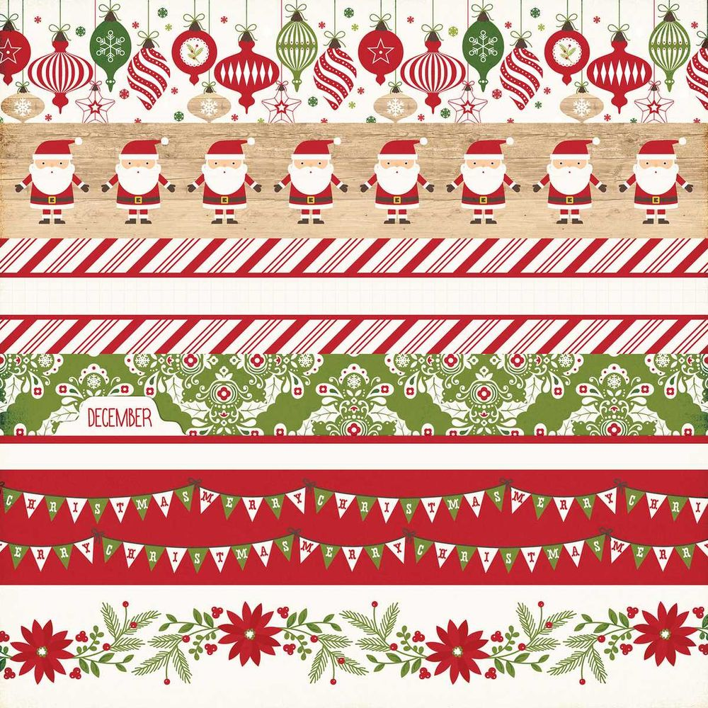 Papel Scrapbook I Love Christmas Border Strips - Echo Park