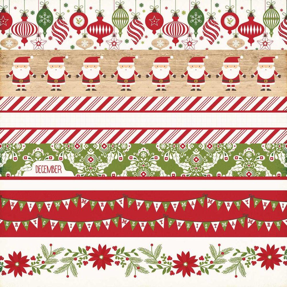 Papel Scrapbook I Love Christmas Border Strips - Echo Park