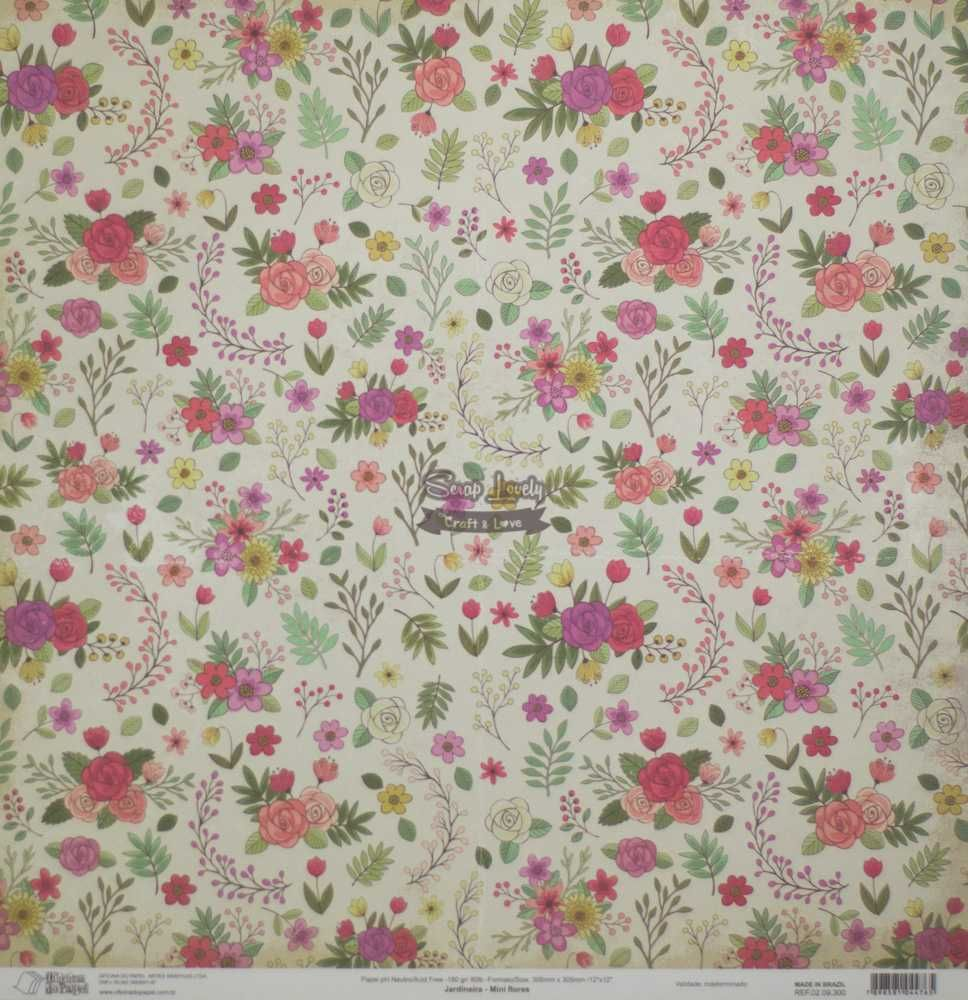 Papel Scrapbook Jardineira Mini Flores - Oficina do Papel