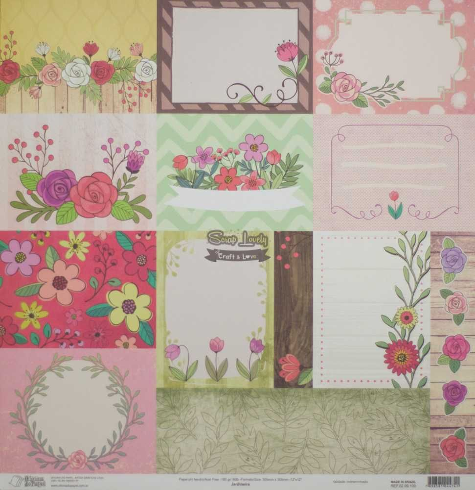 Papel Scrapbook Jardineira - Oficina do Papel