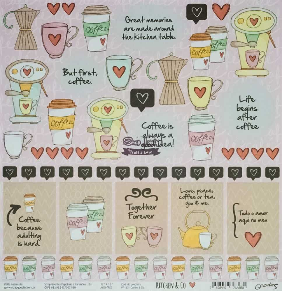Papel Scrapbook Kitchen & Co Coffe & Co - Scrap Goodies